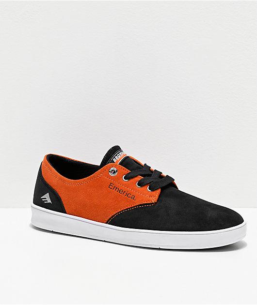 Emerica x Bronson Romero Laced zapatos de skate negros y anaranjados