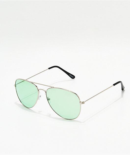 Empyre Aviator Silver & Hunter Green Sunglasses