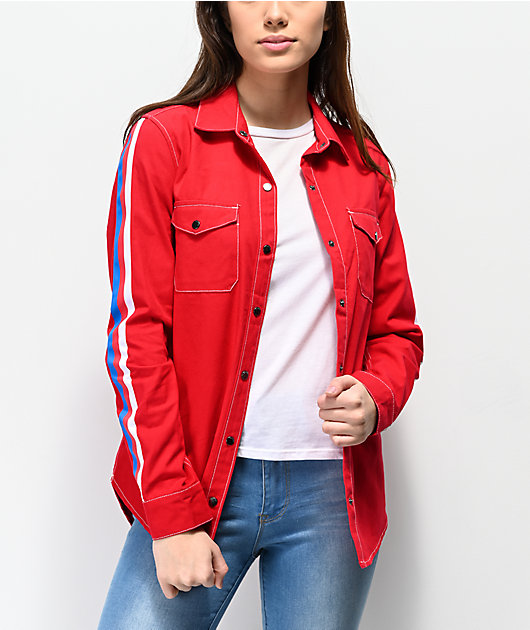 Empyre Bane Red, White & Blue Long Sleeve Work Shirt