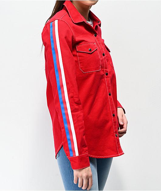 Empyre Bane camisa de trabajo roja, blanca y azul