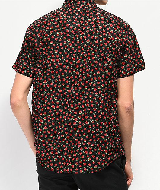 Empyre Benson Rose Black Short Sleeve Button Up Shirt