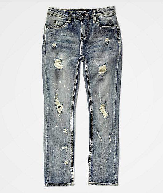 Empyre Boys Recoil Blue Splatter Super Skinny Jeans