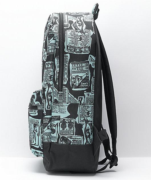 Empyre Brenda Newsprint Black & Teal Backpack