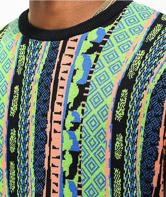 Empyre Brock suéter azul, verde y naranja de rayas verticales
