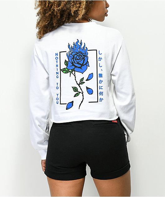 Empyre Burning Blue Rose White Crop Long Sleeve T-Shirt