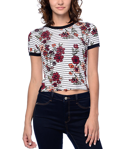 Empyre Cali Floral Striped White Crop Ringer T-Shirt