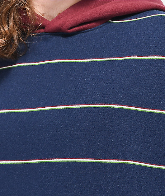 Empyre Caliber sudadera con capucha azul marino y granate de rayas