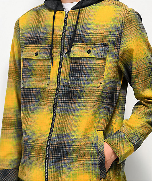 Empyre Chadder Yellow Hooded Flannel Shirt