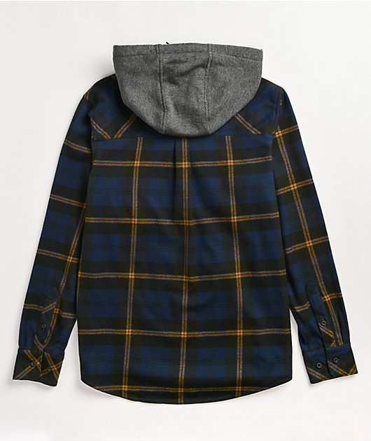 Empyre Chancer Blue & Yellow Hooded Flannel Shirt