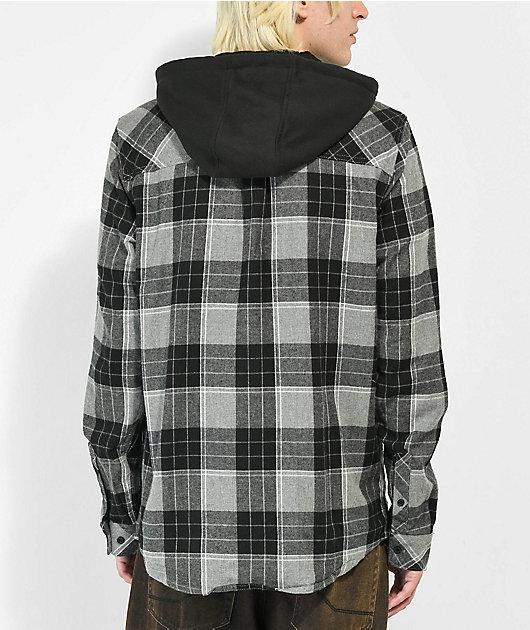 Empyre Chancer Grey & Black Hooded Flannel Shirt