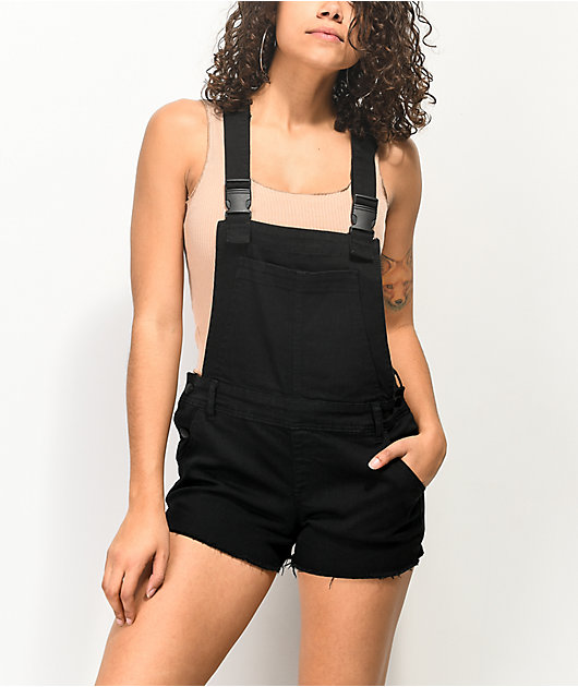 Empyre Cora Utility Buckle Black Overall Shorts