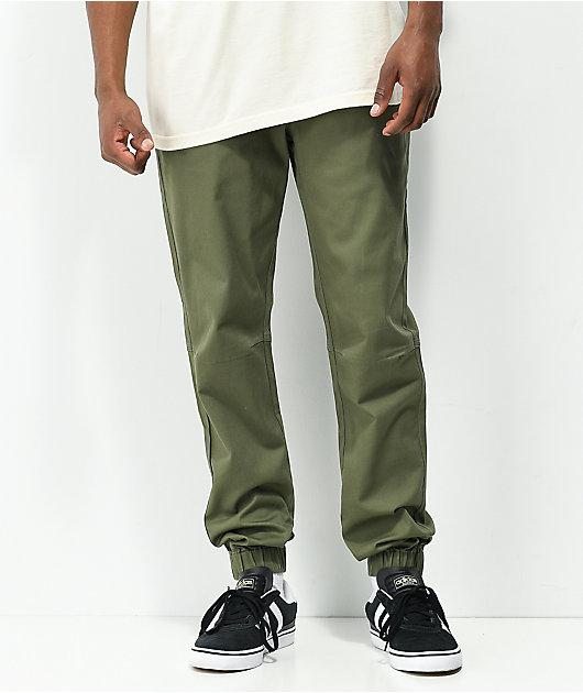 Empyre Creager Stretch Elastic Waist Green Jogger Pants