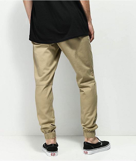 Empyre Creager Stretch Elastic Waist Khaki Jogger Pants