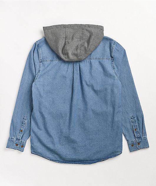 Empyre Crush Hooded Blue Denim Shirt