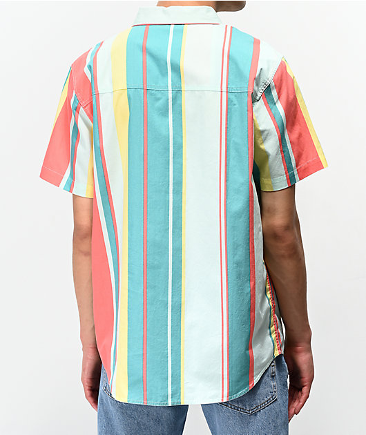 Empyre Drew Mint, Coral & Yellow Striped Short Sleeve Button Up Shirt