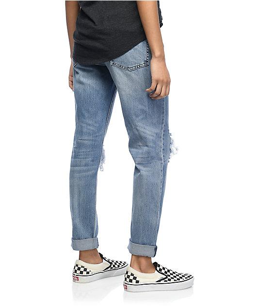 Empyre Easton Destroyed Boyfriend Medium Wash Jeans