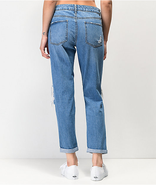 Empyre Easton Medium Wash Distressed Boyfriend Jeans