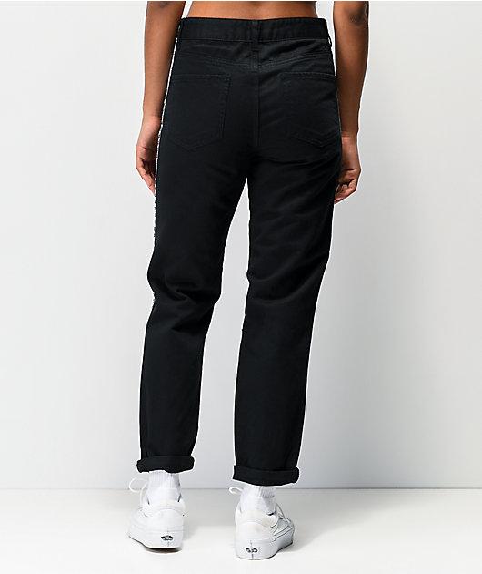 Empyre Eileen Checkerboard Stripe Black Mom Jeans