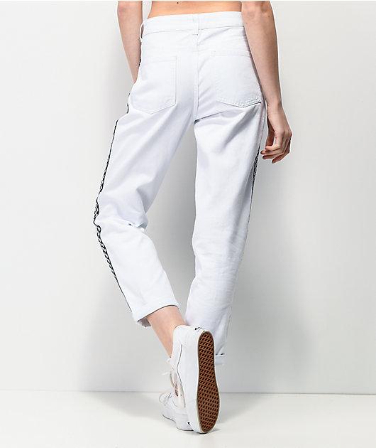 Empyre Eileen Checkerboard Stripe White Mom Jeans