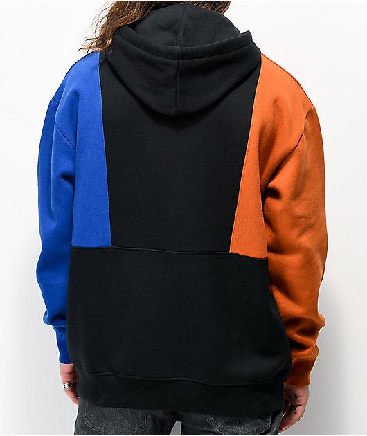 Empyre Fast Break Black, Blue & Brown Colorblock Hoodie
