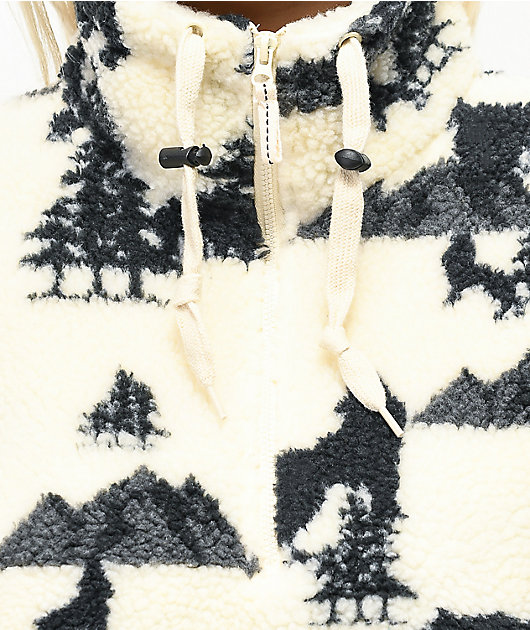 Empyre Fjord sudadera de polar crema con media cremallera