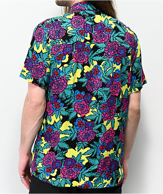 Empyre Floral Black, Yellow & Teal Woven Short Sleeve Button Up Shirt