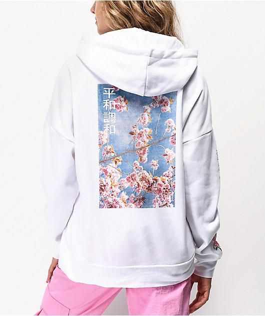 Empyre Fredia Cherry Blossom sudadera con capucha blanca