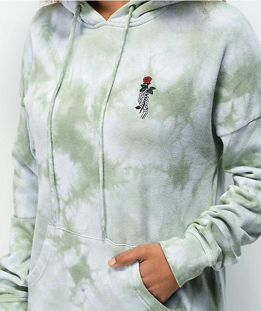 Empyre Fredia Skeleton Hand Green Tie Dye Hoodie