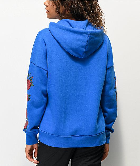 Empyre Fredia sudadera con capucha azul con rosa roja