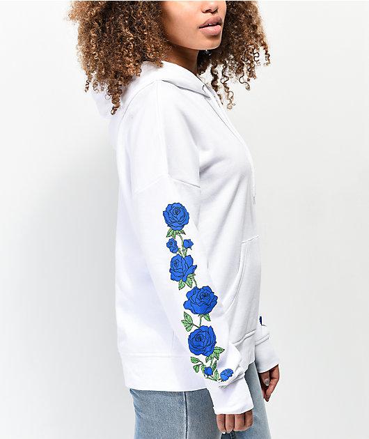 Empyre Fredia sudadera con capucha blanca de rosas azules
