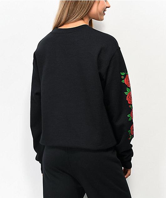 Empyre Frediana With Roses Black Crew Neck Sweatshirt