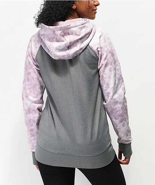 Empyre Frosty Light Grey & Purple Tie Dye Tech Fleece Hoodie