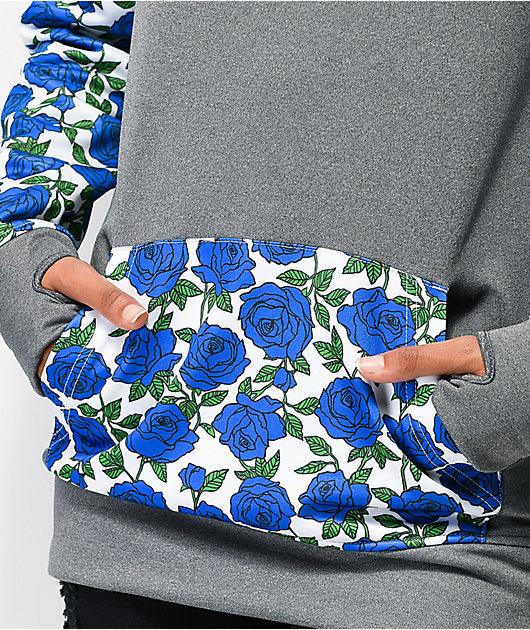 Empyre Frosty Roses Grey & Blue Tech Fleece Hoodie