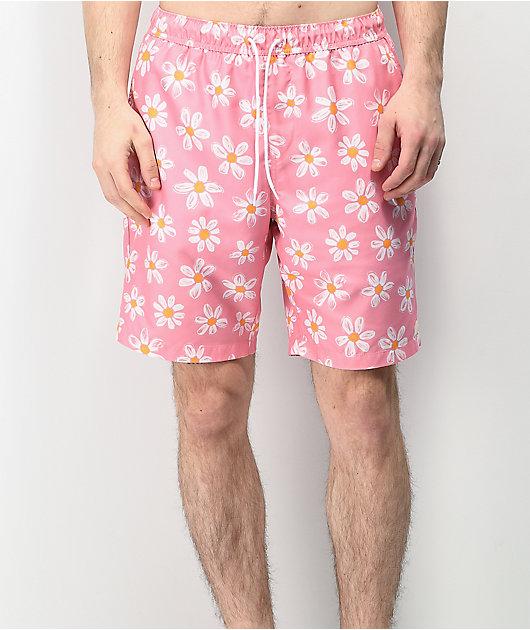 Empyre Grom Daisy shorts de baño rosas con cintura elástica