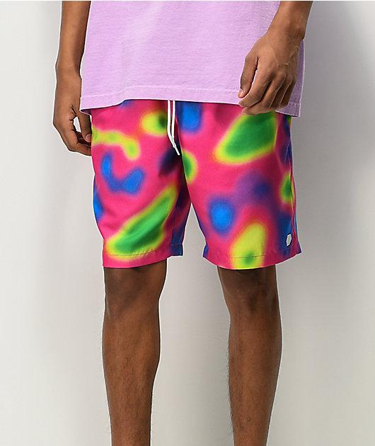 Empyre Grom Heat Map shorts de baño de cintura elástica en rosa y verde
