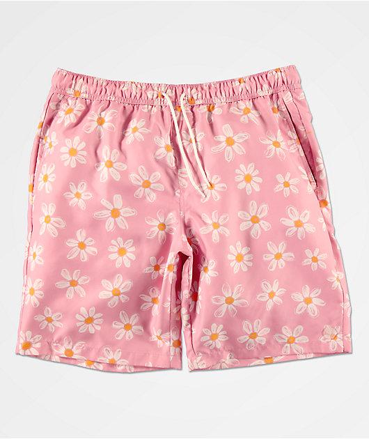 Empyre Grom Pink & Daisy Elastic Waist Board Shorts