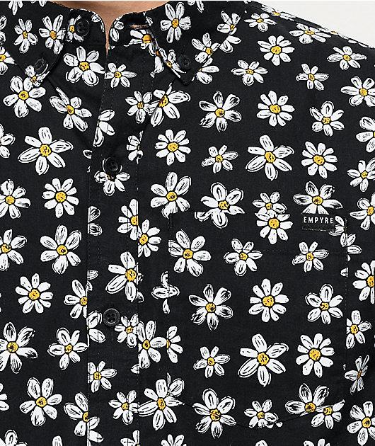 Empyre Harry Daisy Black Woven Short Sleeve Button Up Shirt