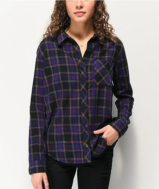 Empyre Havana Rainbow Plaid Purple & Black Flannel Shirt