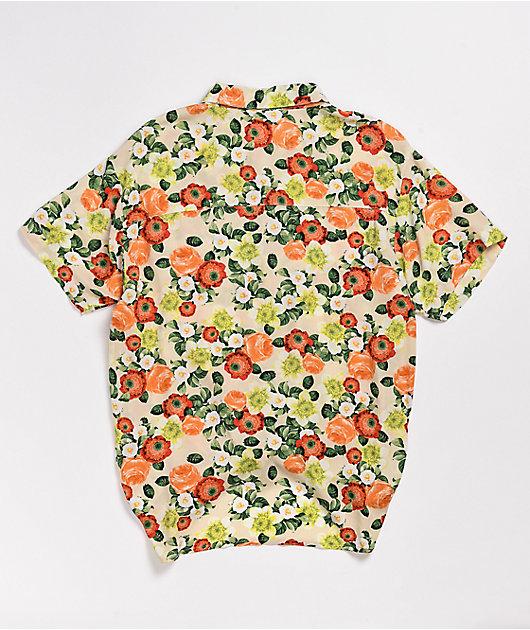 Empyre Hilo Botanical Tie Front Short Sleeve Button Down Shirt