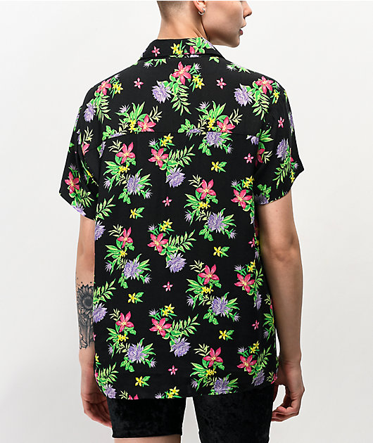 Empyre Hilo Neon Floral Tie Front Short Sleeve Button Up Shirt