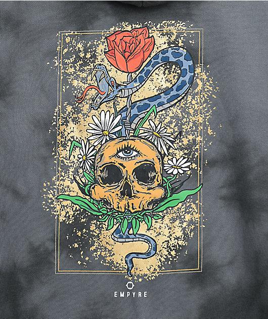 Empyre Jasmine Rose Skull Black Tie Dye Hoodie