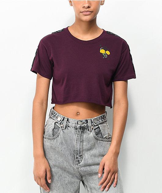 Empyre Kipsy Yellow Rose Burgundy Crop T-Shirt