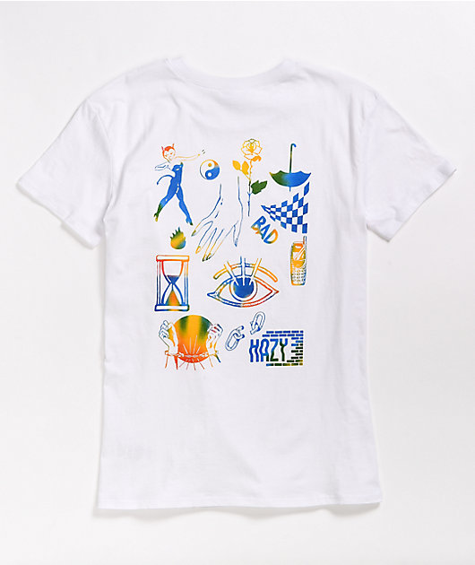 Empyre Laynie Rainbow Collage White T-Shirt