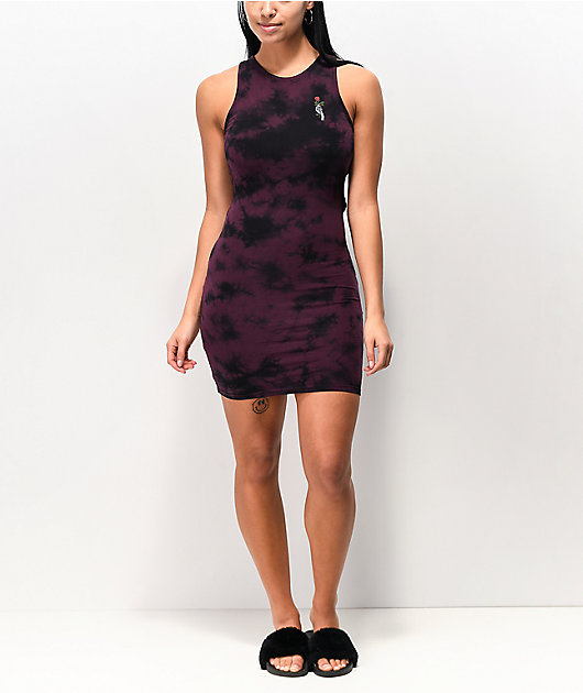 Empyre Lisbet Purple & Black Tie Dye Cut Out Dress