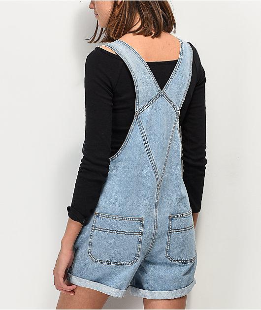 Empyre Maddie Boyfriend Light Wash Overall Shorts