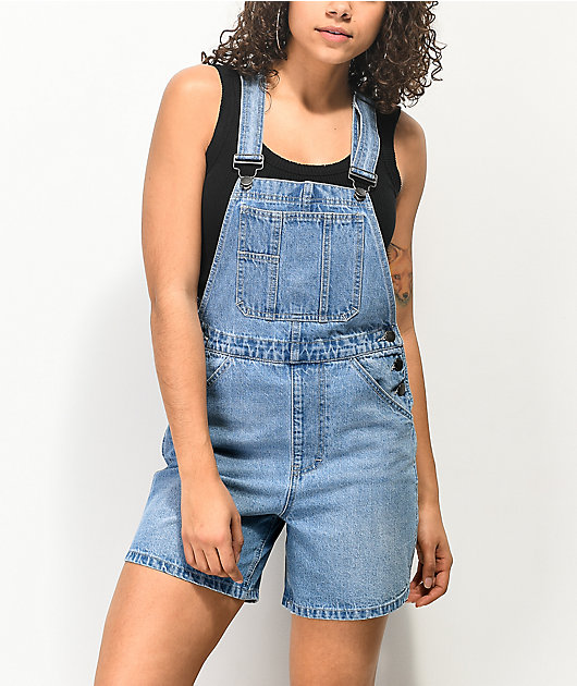 Empyre Maddie Light Wash Overall Shorts