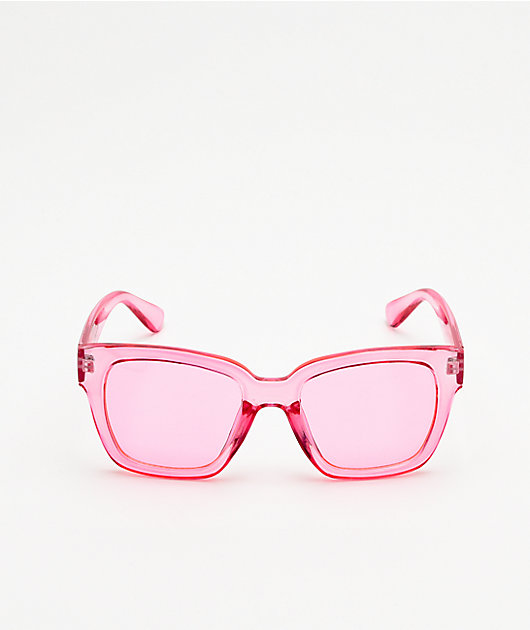 Empyre Matilda Square Pink Translucent Sunglasses