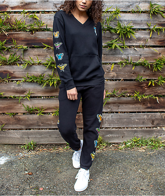 Empyre Meleah Butterfly Black Jogger Sweatpants