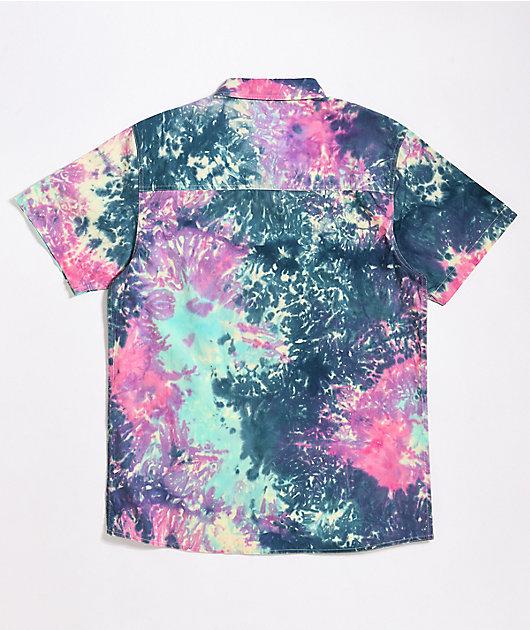 Empyre Mellow Navy, Pink & Teal Tie Dye Short Sleeve Button Up Shirt