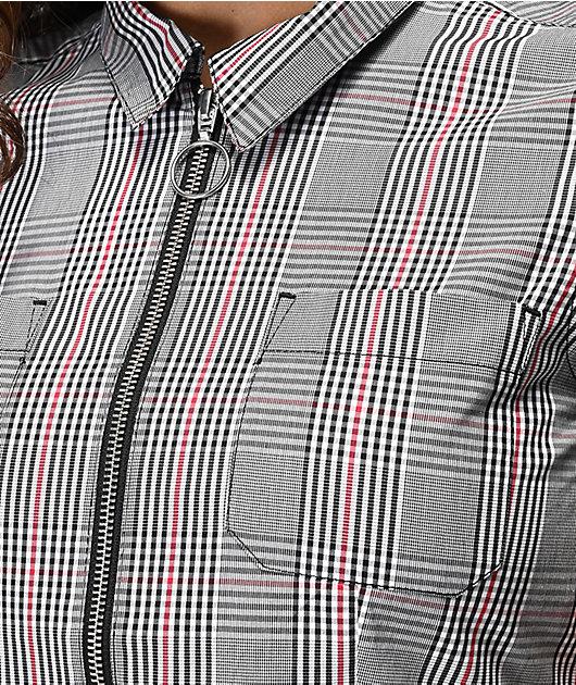 Empyre Mickey Plaid Crop Zip Front Shirt